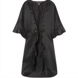 NWT Victoria's Secret Black Satin Ruffle Robe, OS